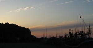 下風呂港の夕焼け